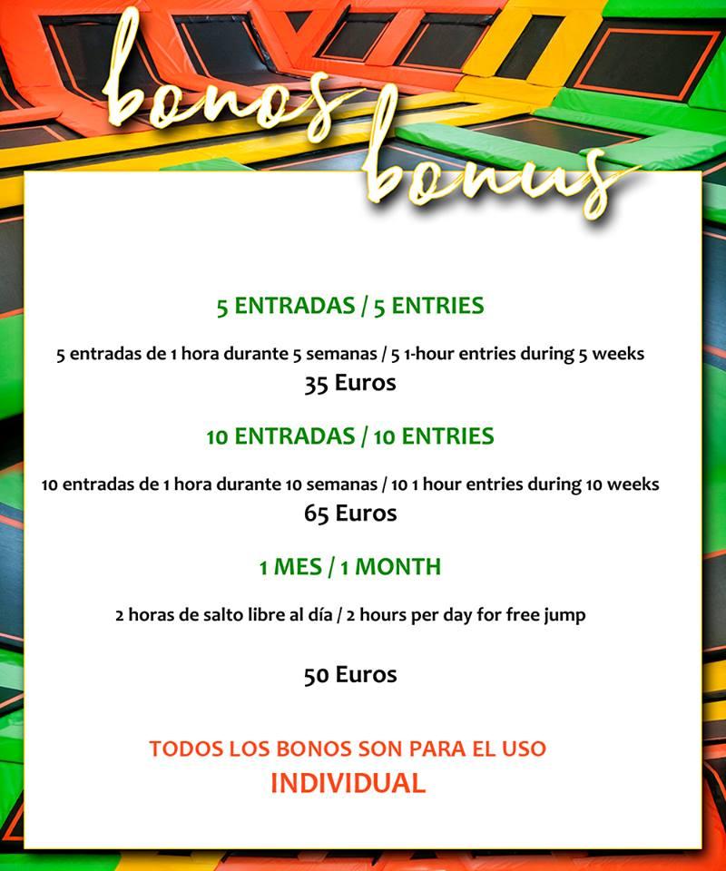 Canary Jump Tenerife - TARIFAS DE BONOS